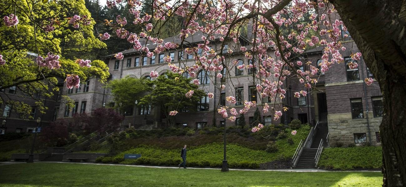Old Main lawn in the spring
